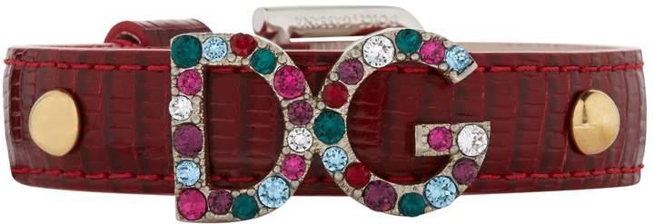 Dolce & Gabbana Embellished Leather Bracelet