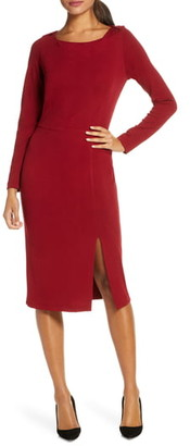 Forest Lily Long Sleeve Crepe Sheath Dress