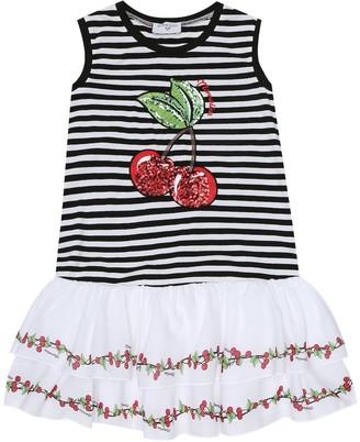 MonnaLisa Striped stretch-cotton dress