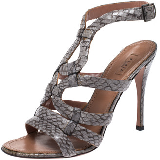 Alaia Grey Python Leather Strappy Open Toe Slingback Sandals Size 39