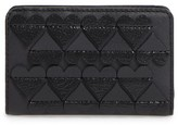 Marc Jacobs Women's Embossed Heart Compact Leather Wallet - Black