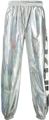 McQ Metallic Logo Print Track Pants