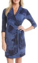 Karen Kane Tie Dye Print Cascade Faux Wrap Dress