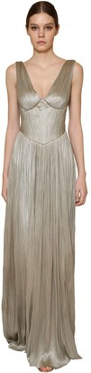 Maria Lucia Hohan Long Metallic Silk Tulle Dress