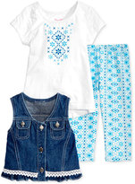 Nannette 3-Pc. Denim Vest, Top & Leggings Set, Baby Girls (0-24 months)