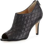 Neiman Marcus Prenia Quilted Peep-Toe Bootie, Black