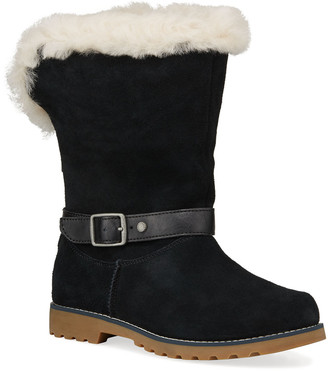 UGG Nessa Suede Boots w/ Exposed Sheepskin Shaft, Kids