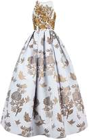 Andrew Gn Floral Embroidered Brocade Gown, Gold, FR 42