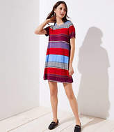 LOFT Petite Mixed Stripe Short Sleeve Swing Dress