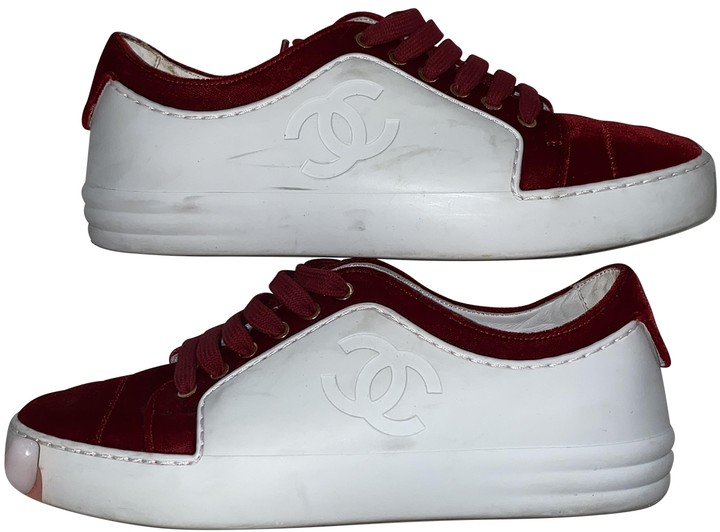 Chanel Red Velvet Trainers - ShopStyle