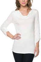 Celeste White Roll-Tab Sleeve Drape Top