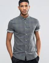 Asos Skinny Denim Shirt With Check In Khaki With Short Sleeve
