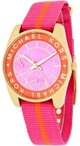 Michael Kors MK2401 Women's Ryland Pink Nylon Watch with Crystal Accents