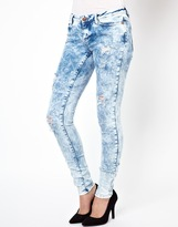 Noisy May Eve Bleached Low Waist Skinny Jeans With Distressing
