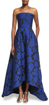 Oscar de la Renta Strapless Floral Jacquard High-Low Gown, Blue