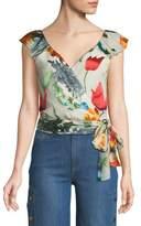Alice + Olivia Nicole Floral-Print Cold-Shoulder Wrap Top