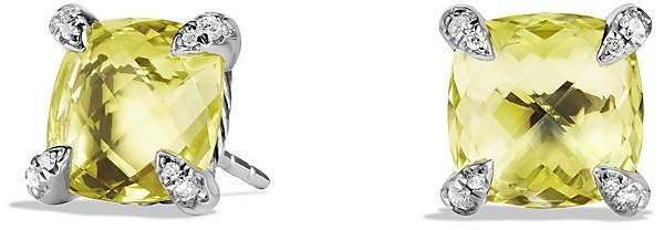 David Yurman Ch'telaine Earrings with Lemon Citrine and Diamonds