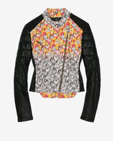 Floral Patch Leather Jacket