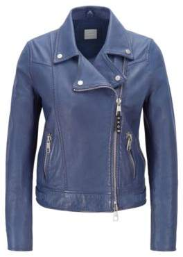 BOSS Perforated biker jacket in lamb leather with asymmetric zip