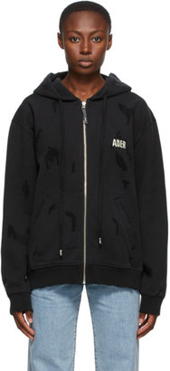 Ader Error Black Masking Zip-Up Hoodie
