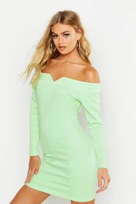 boohoo Bodycon Off the Shoulder Stretch Denim Dress