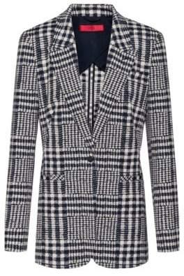 HUGO Regular-fit jacket in Glen-checked jacquard