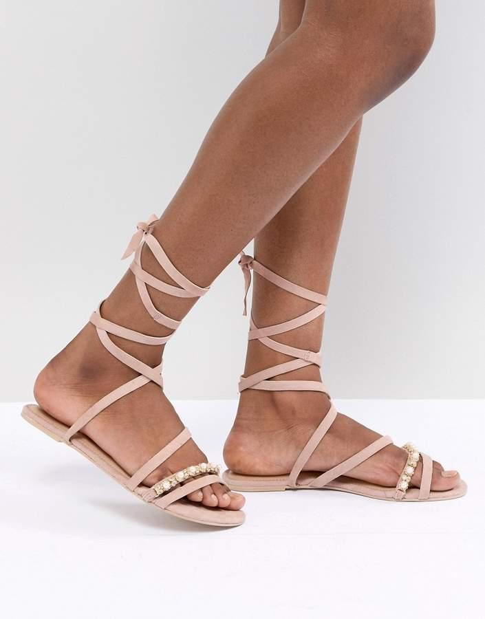 35217677043 Design DESIGN Fascination Leather Embellished Flat Sandals