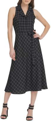 DKNY Windowpane Sleeveless Fit Flare Midi Shirt Dress