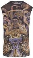 Balmain Distressed Lion-print Cotton Tank Top