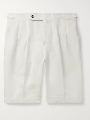 Loro Piana Slim-Fit Pleated Linen Shorts