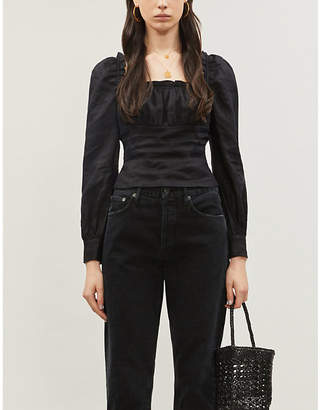 Reformation Othello puffed-sleeve linen top