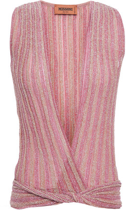 Missoni Twist-front Metallic Crochet-knit Top