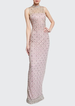 Monique Lhuillier Embroidered Sleeveless High-Neck Gown