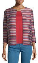 Lafayette 148 New York Alejandra Bracelet-Sleeve Striped Jacket, Red Rock/Multi
