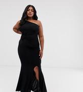 Club L London Plus one shoulder twist detail maxi dress