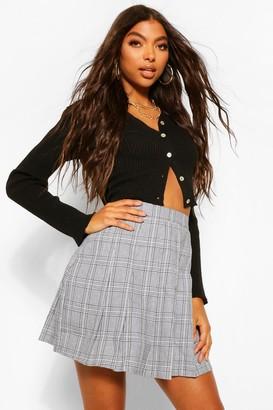 boohoo Tall Check Pleated Kilt Mini Skirt
