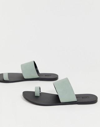 Asos Design DESIGN Faro leather toe loop flat sandals