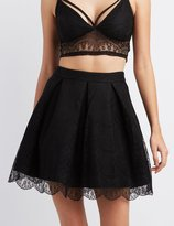 Charlotte Russe Lace Pleated Skater Skirt