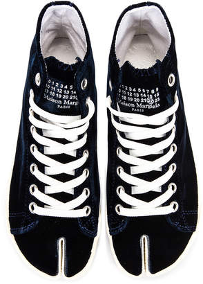 Maison Margiela Toe High Top Sneakers in Navy Blue | FWRD