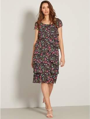 M&Co Ditsy floral chiffon shutter dress