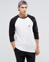 Asos Muscle 3/4 Sleeve T-Shirt With Contrast Raglan Sleeves And Logo