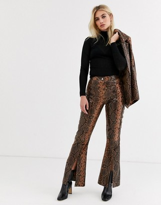 Topshop leather trousers with split front in snake print-Brown