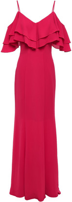 ZAC Zac Posen Cold-shoulder Tiered Stretch-crepe Gown