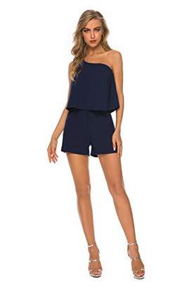 PLUMBERRY Women's Solid One-Shoulder Romper Jumpsuits Shorts with Pockets