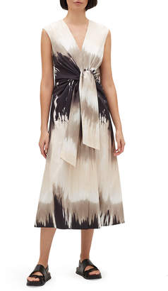 Lafayette 148 New York Orielle Sandstone Ombre Tie-Waist Sleeveless Midi Dress