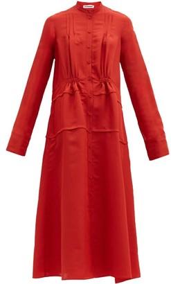 Jil Sander Twisted Gathered Twill Shirtdress - Red