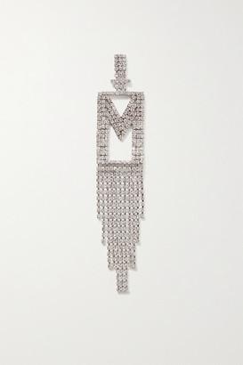 retrofete Alphabet Rhodium-plated Crystal Earring - Silver