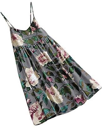 DEELIN Fashion Autumn Women Linen Floral Print Summer Party Long Sleeve Dress Plus Size Mini Dress(Short-Blue 5XL)