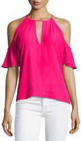 Amanda Uprichard Celia Cold-Shoulder Keyhole Top, Pink