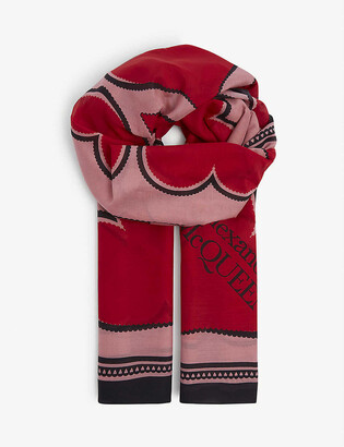 Alexander McQueen Graphic-print cotton and silk-blend scarf